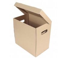 Архивный короб с откидной крышкой, вырубные ручки 28×25×32 см.