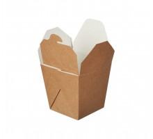 Контейнер для еды бумажный чайна-бокс  крафт/белый  ,квадратное дно, 500 мл