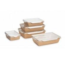 Контейнер для еды бумажный  Crystal Box, с плоской крышкой, прямым дном  Крафт, 400 мл