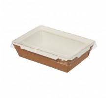 Контейнер для еды бумажный  Crystal Box,с плоской крышкой и прямым дном, Крафт, 1200 мл