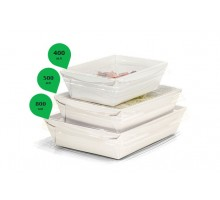 Контейнер для еды бумажный  Crystal Box, с плоской крышкой, Белый прямое дно, 400 мл