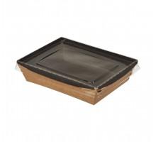 Контейнер бумажный Crystal Box, с плоской крышкой Черный/Крафт прямое дно