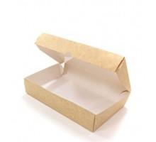 Контейнер для еды бумажный  Crystal Box, с купольной крышкой, Крафт, 800 мл